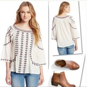 LUCKY BRAND GEO EMBROIDERED WHITE TOP SZ L NEW